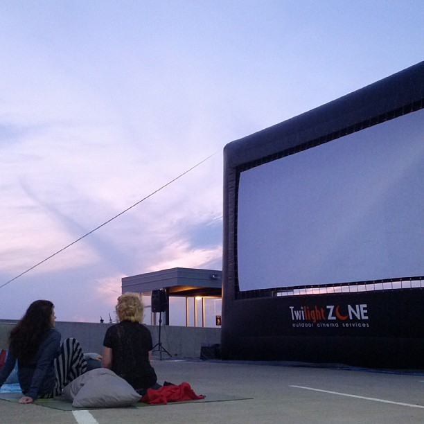 Movie time on the warm concrete