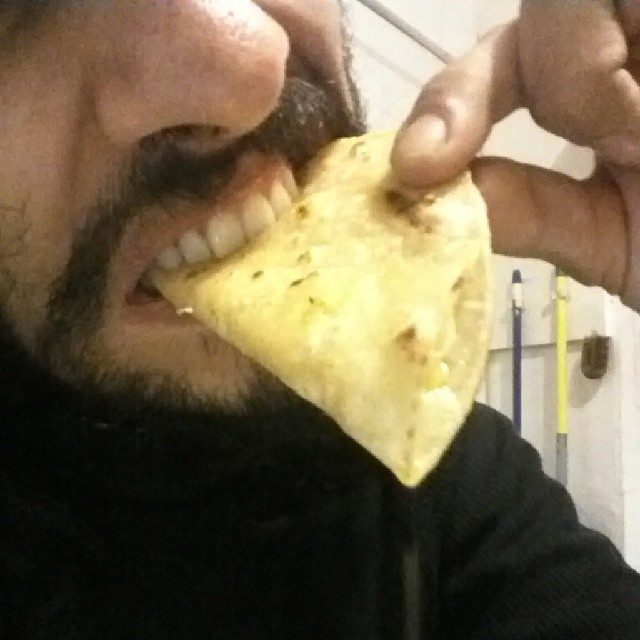 Eating quesadillas hard