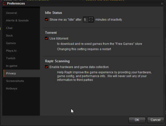 AMD Gaming Evolved preferences