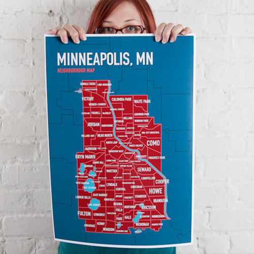 Map of Minneapolis in Twins colors
