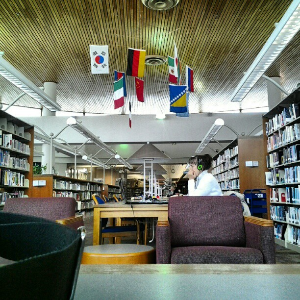 Spending the day at the library.