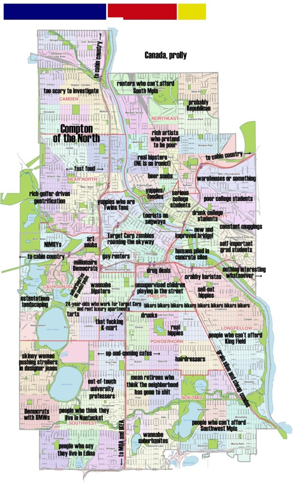 Judgmental Minneapolis Map