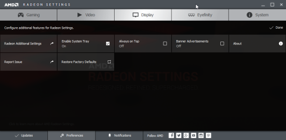 AMD Radeon Settings Prefences