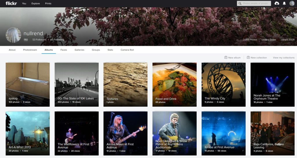 Flickr Album page on website