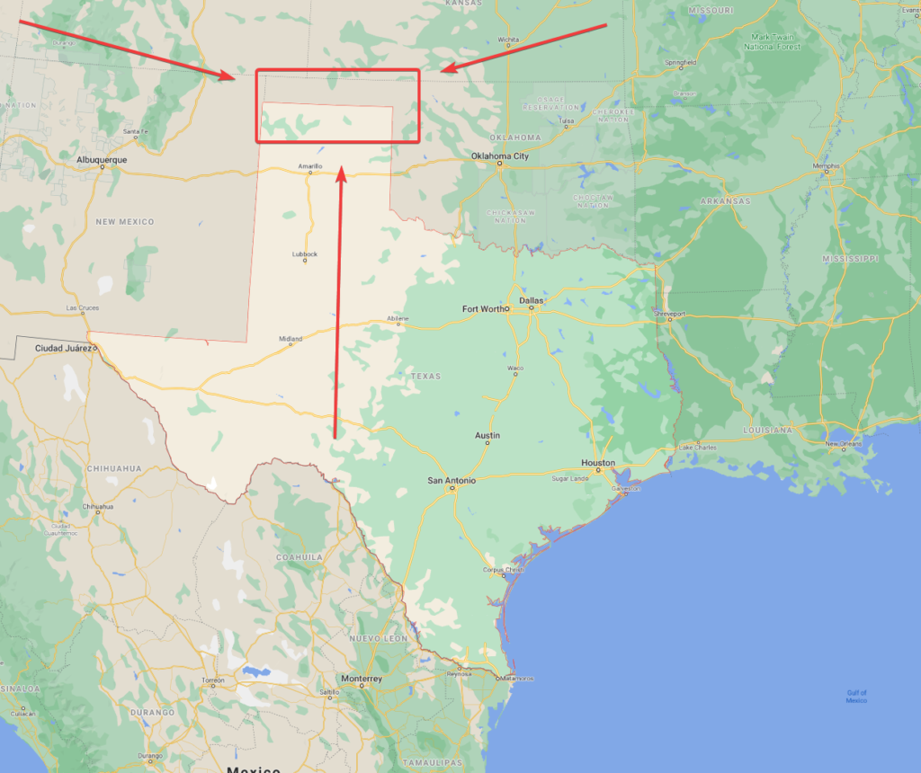 Map of Texas pointing to the no-mans-land that became the Oklahoma Panhandle