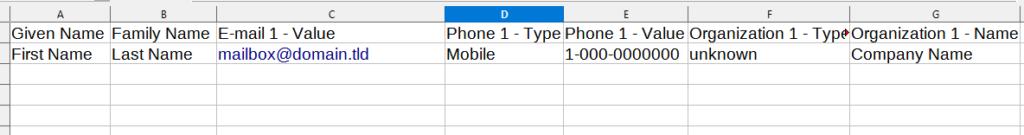 Google Contacts CSV columns